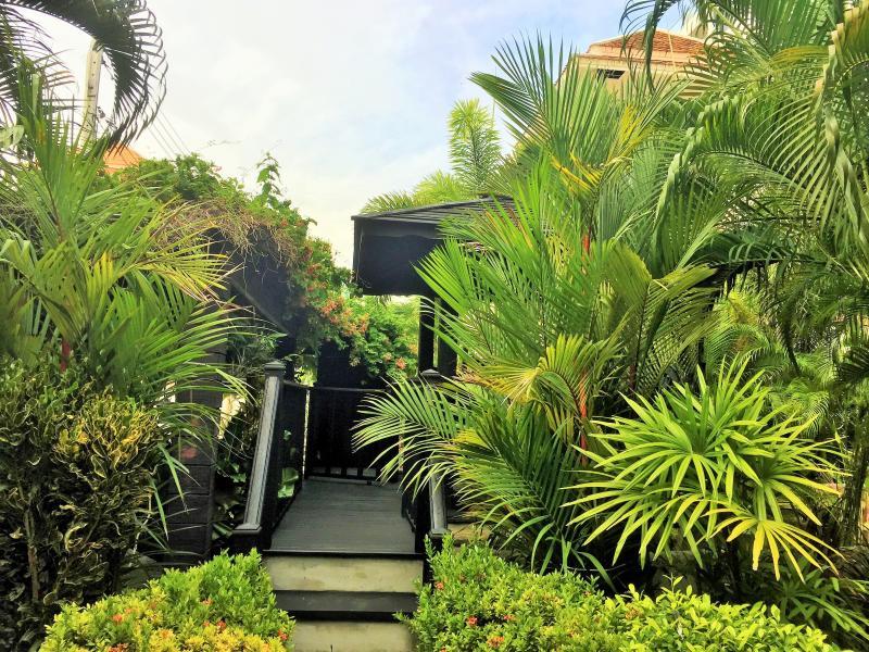 View from garden to Gazebo deck....