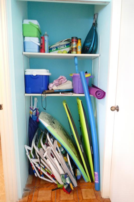 fun closet is well stocked. Snorkel gear is in box on lanai