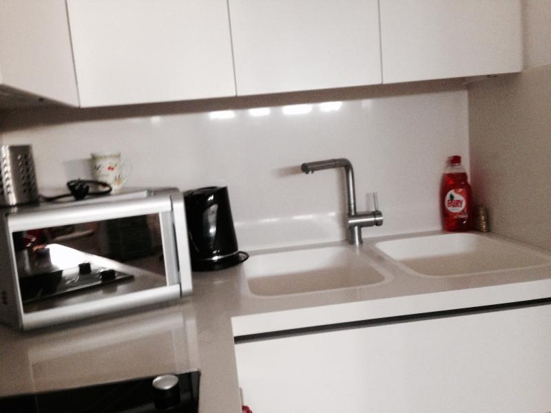 Micro et éviers Dubble grand comptoir blanc. construit électrique dans la cuisine de comptoir électrique.