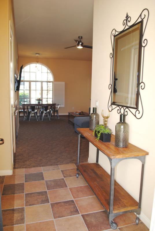 Entry, Family Room and Dining Room.