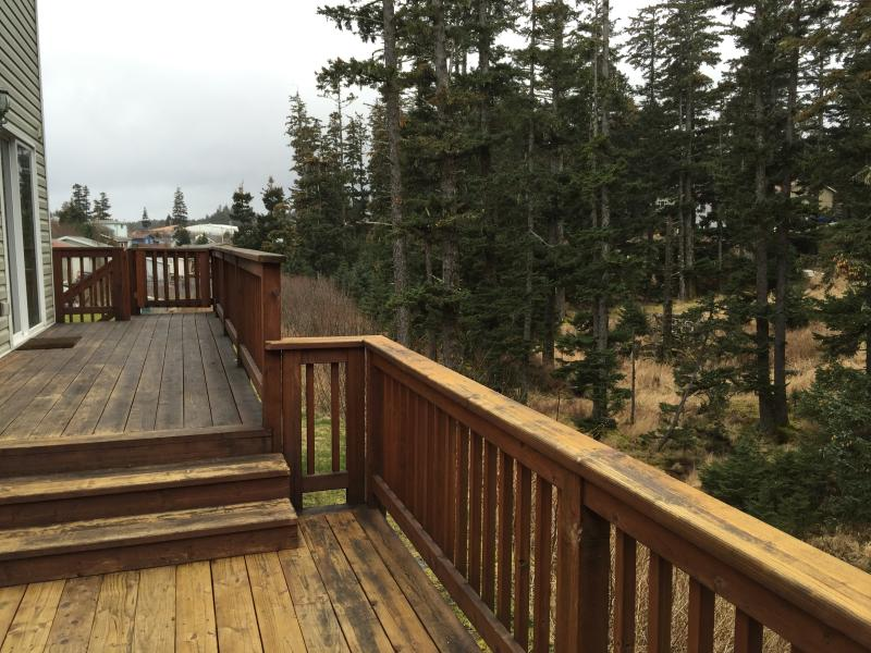 Wooded decks backing to spruce forest