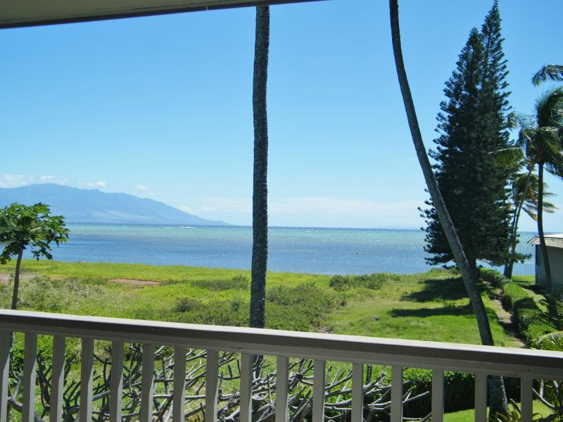 Ocean view of Maui from our lanai. Twinkling lights of Maui at night.