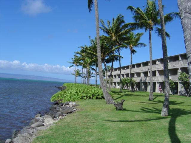 Oceanfront grounds with Lanai in the distance