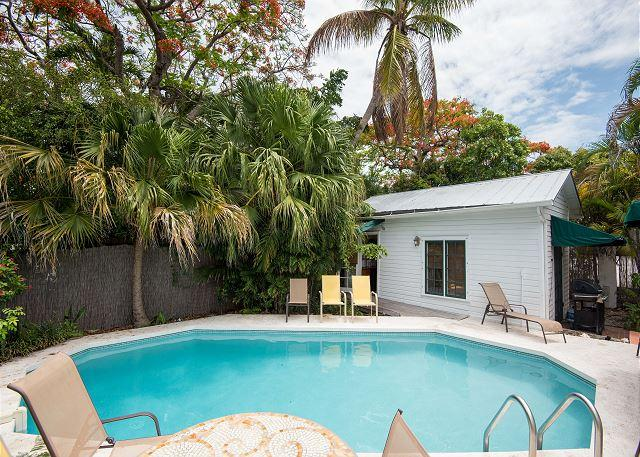 Lounge around your private heated pool at Tropical Retreat
