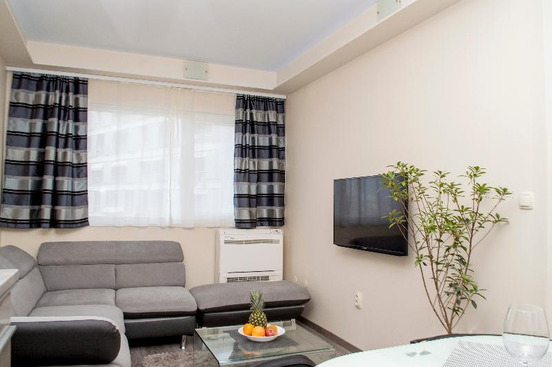 Living room with airc-condition and flat TV