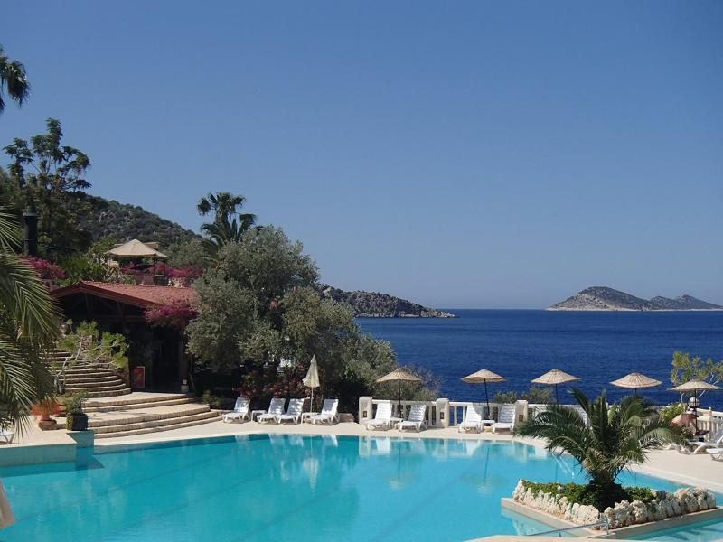 Grand Pool & Restaurant over looking Kalkan Bay