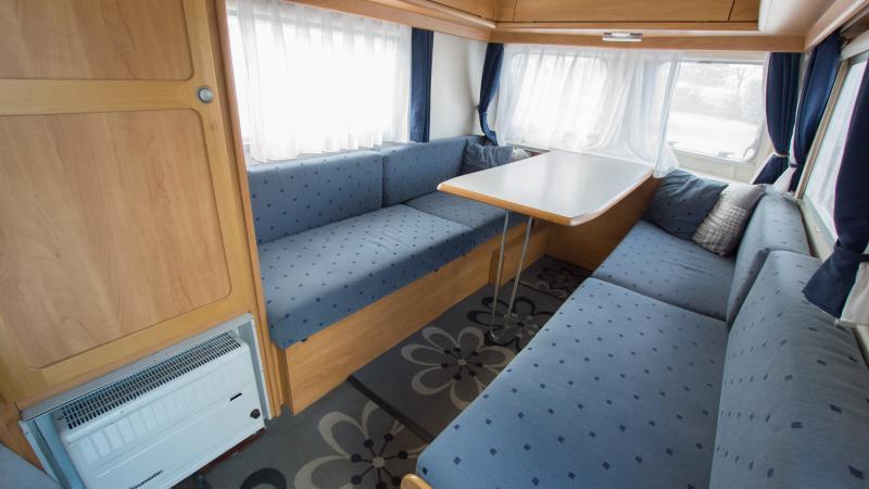 Caravan setup with table