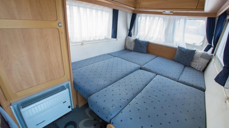 Caravan setup with one large bed