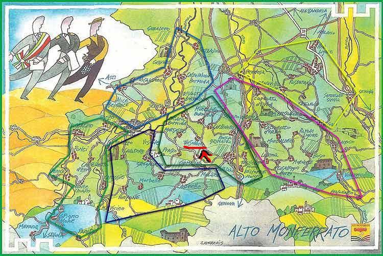 ..siamo al centro dell'alto monferrato..in questa cartina si possono notare varie zone da visitare..