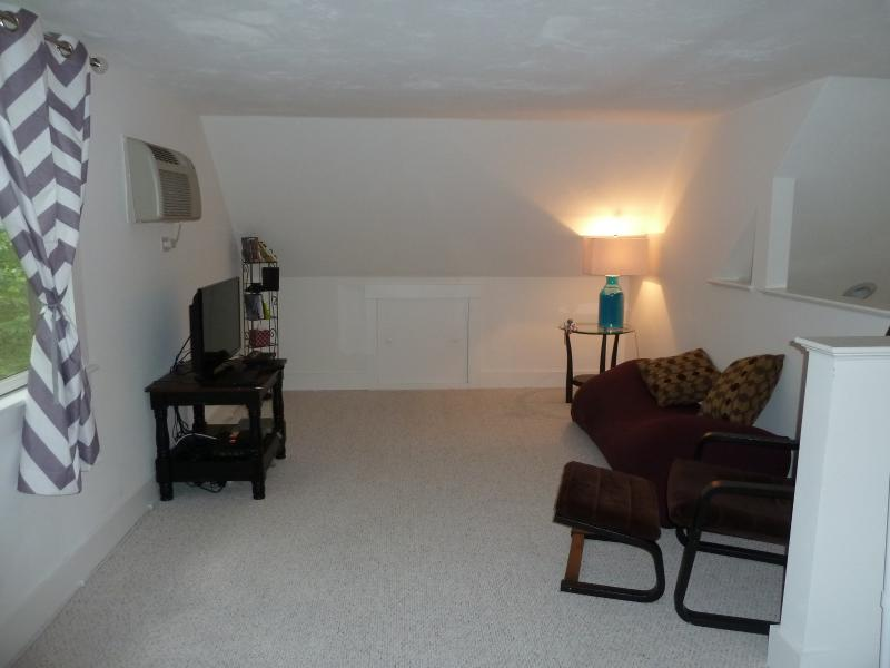 Loft space (accessible by ladder) has entertainment area (TV, video games)