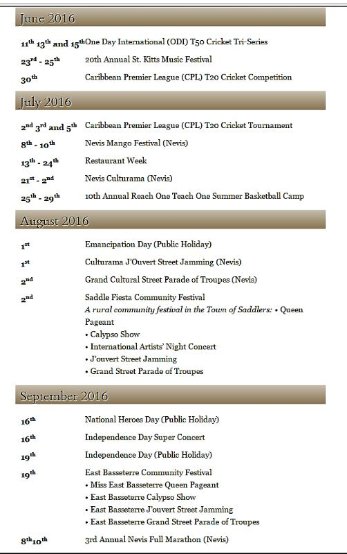 Calendar of EVENTS in ST.KITTS and NEVIS