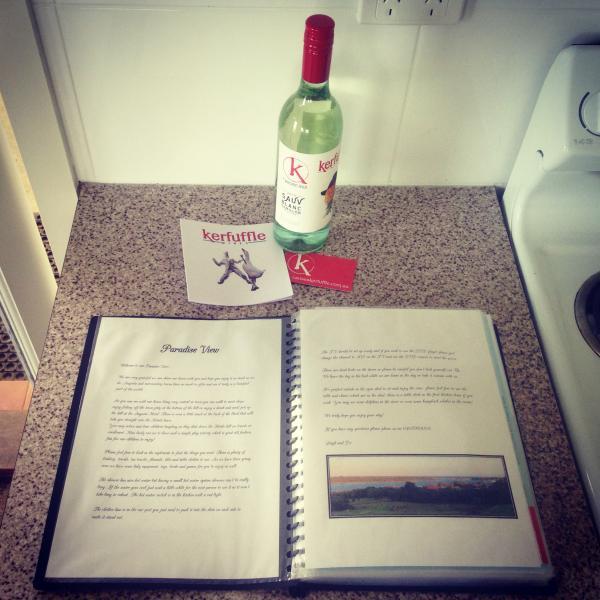 Complimentary Kerfuffle wine and info folder