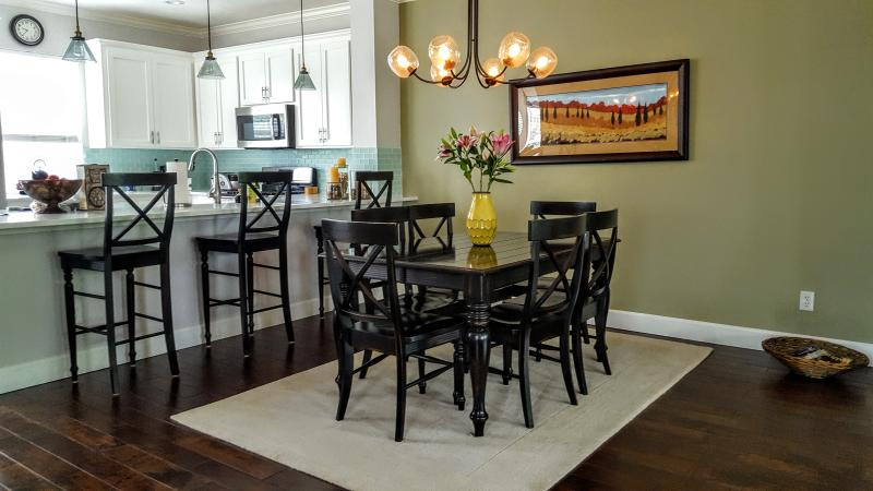 Dining area can double as a flexible work space.