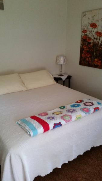Queen bed - linens and towels are provided.