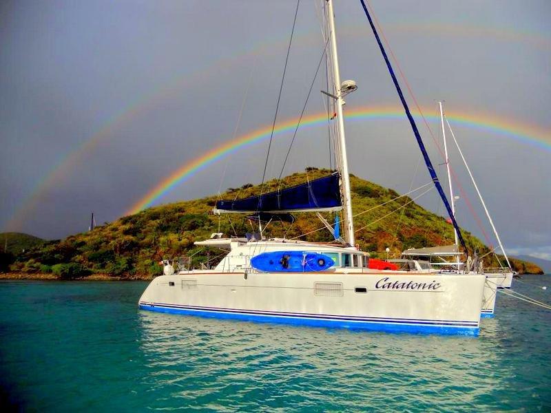 Under a double rainbow!