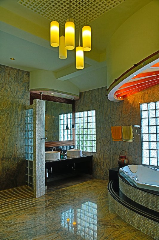 The Master bathroom is all in Granite and Marble with a SPA over looking the ocean.