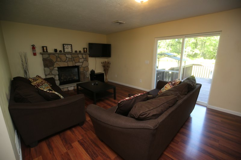 Family Room, Fireplace, PS3, 43 inch TV, 2 pull out couches queens size, .