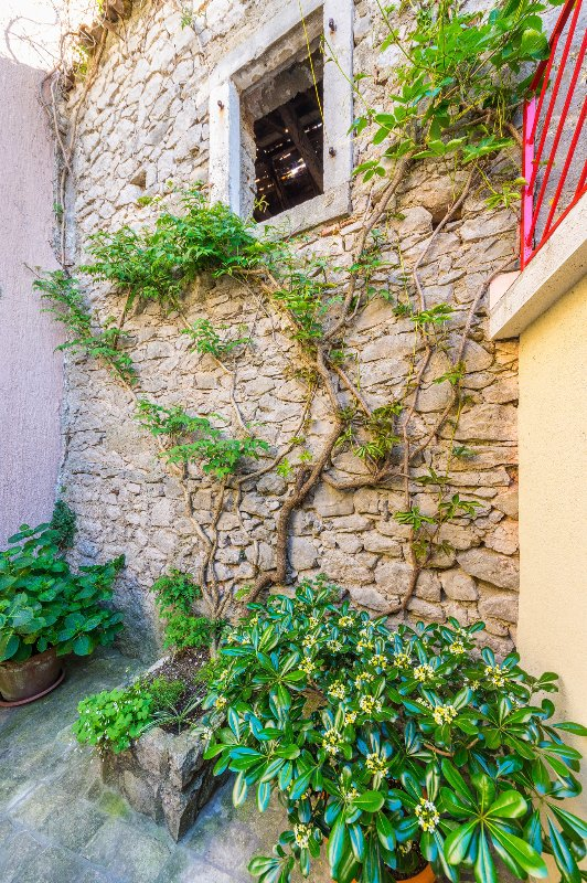 Stone wall in courtyard