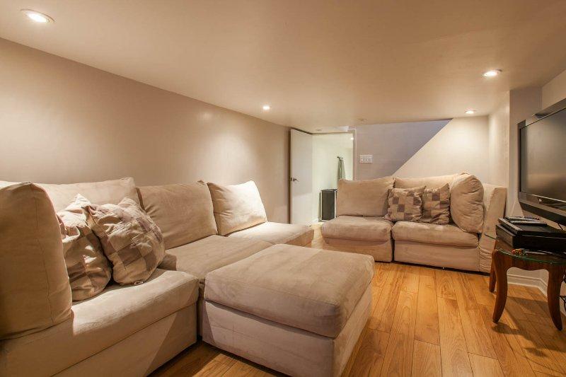 Basement Tv Room furnitures sit easily 5-6 persones comfortably