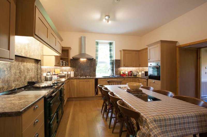 a kitchen with an aga or electric hob and oven. set out for 10 plus the baby.