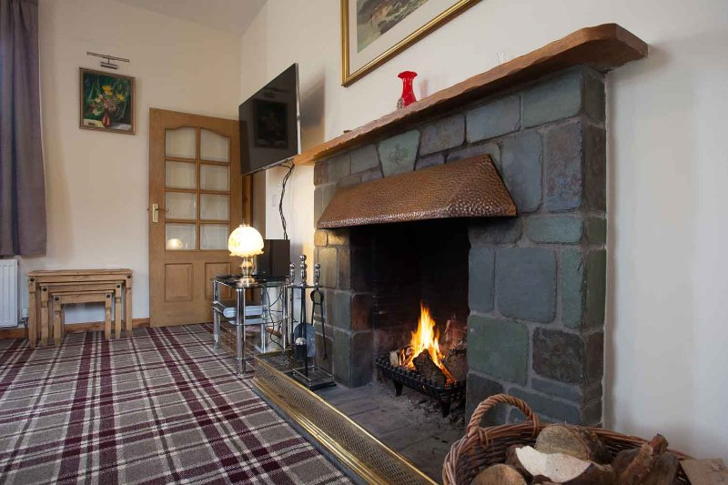 The sitting room has a log fire. The log bin is always kept full. Sky HD+ movies & Sport is provided