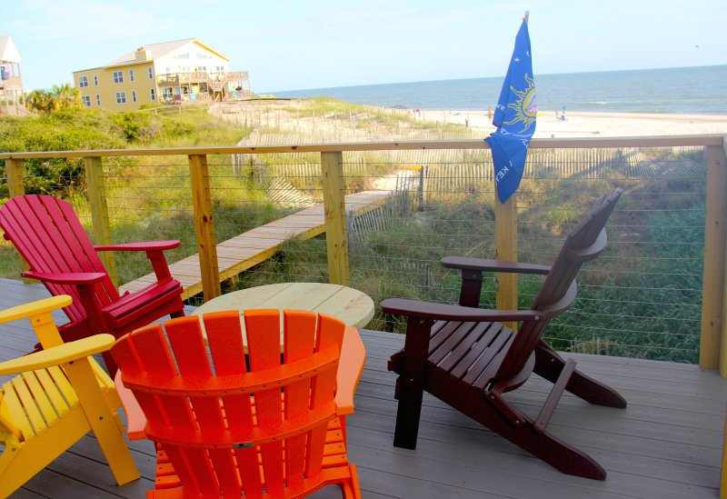 Our new deck with trex decking and marine cable railing and our brand new boardwalk to the beach!