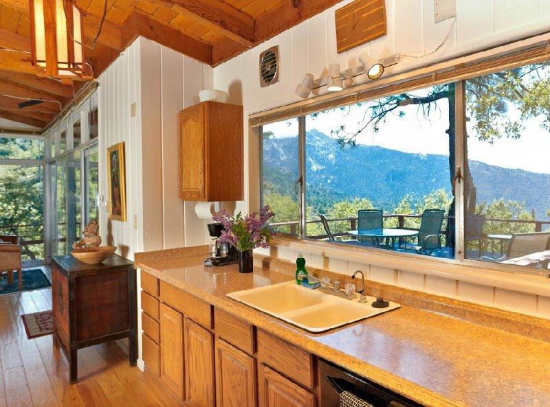 Kitchen has views.