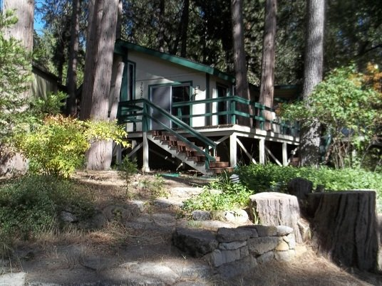 vue sur l'extérieur de la maison. La maison est nichée dans les pins.