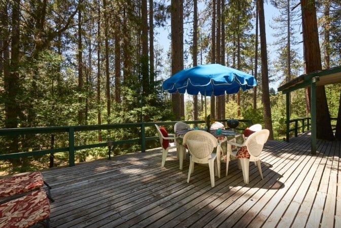 Grande terrasse avec vue sur meubles de patio et arbres.