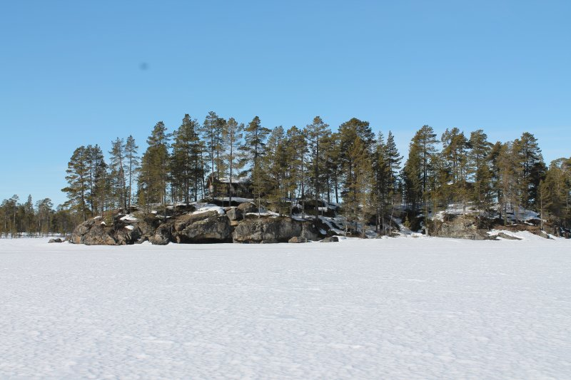 View from the frozen lake on the island