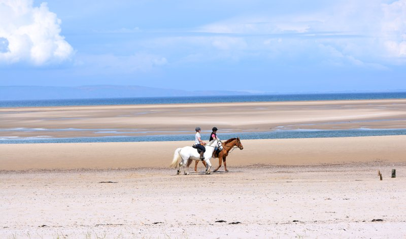 A morning ride along the sands at Nairn East Beach