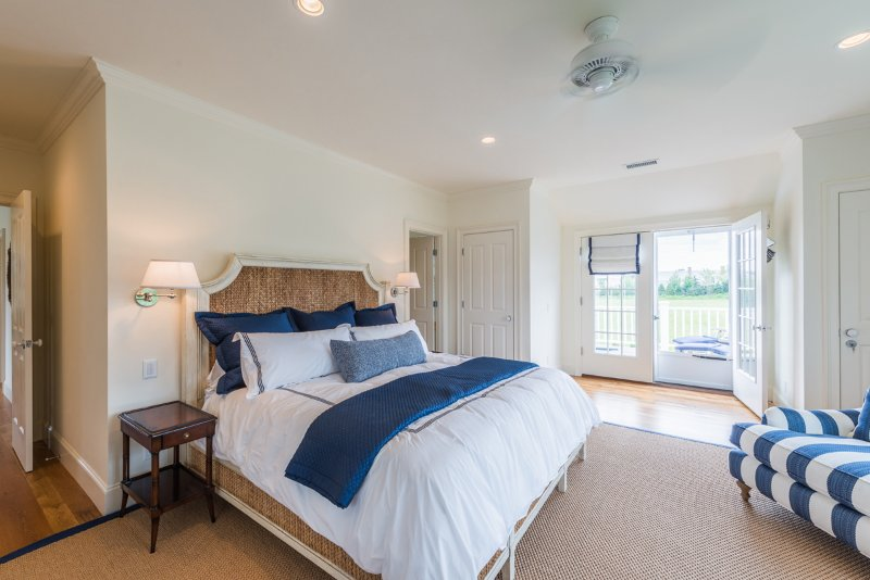 Master Bedroom with Ensuite Bath, TV & Private Deck Overlooking Pool