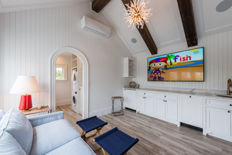 Pool House with Media Area, Bedroom, 2 Baths