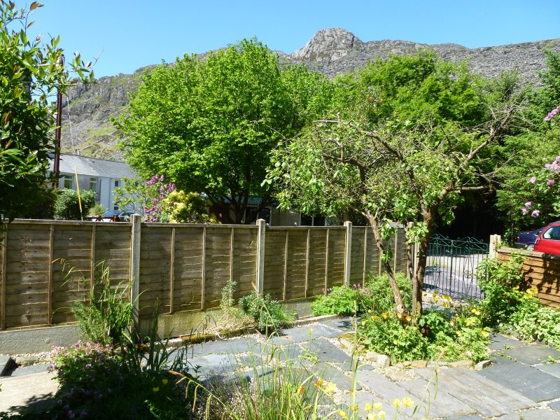 Garden - view from sitting area. Spot the ravens or if you are lucky a chough.