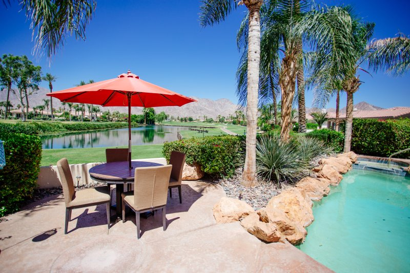 Dine by the pool overlooking the Dunes course