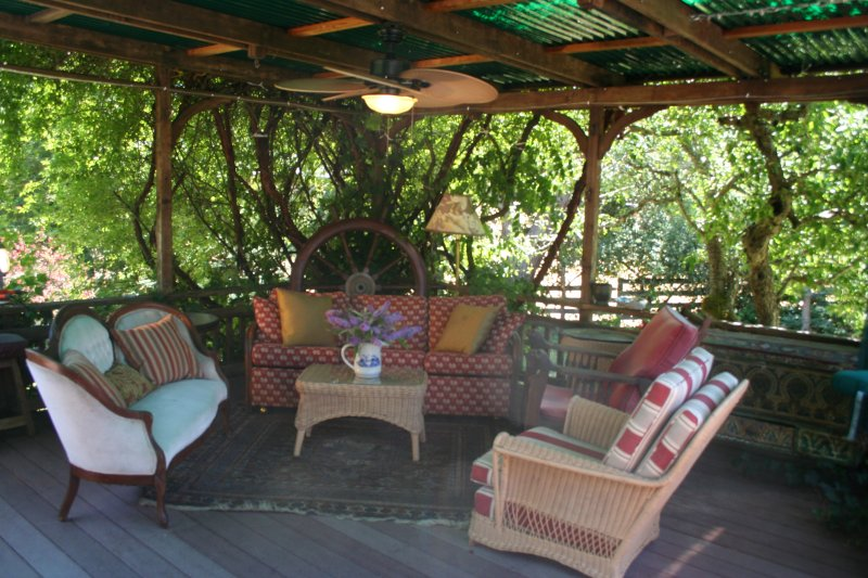 Guests enjoy our outdoor living and grilling space all year round