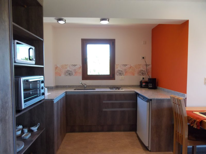 kitchen area, fully equipped kitchen with refrigerator, microwave, oven, stove, dishes