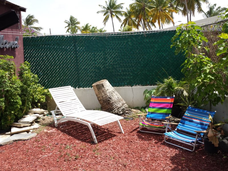Back yard for sun bathing.