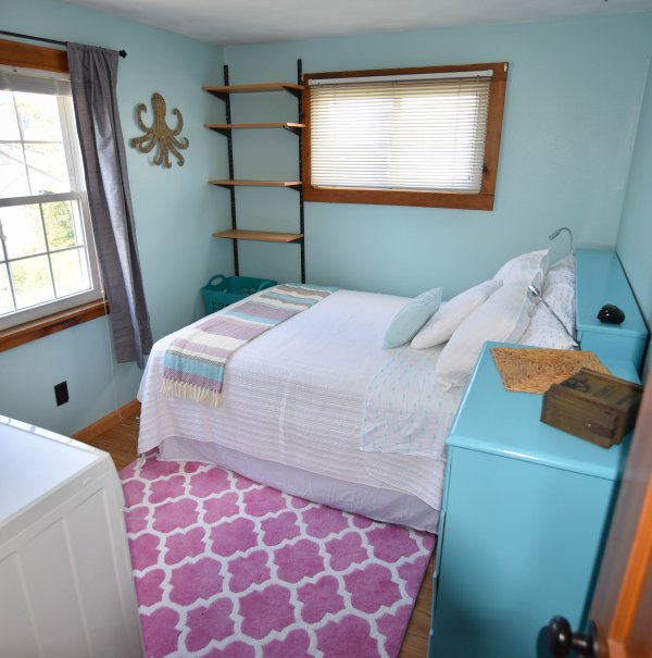 Bedroom with Full Bed. Also Washer & Dryer