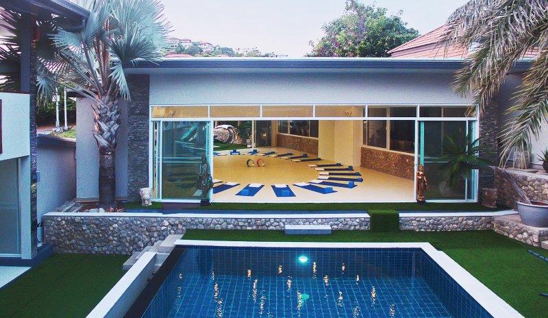 swimming pool yoga room