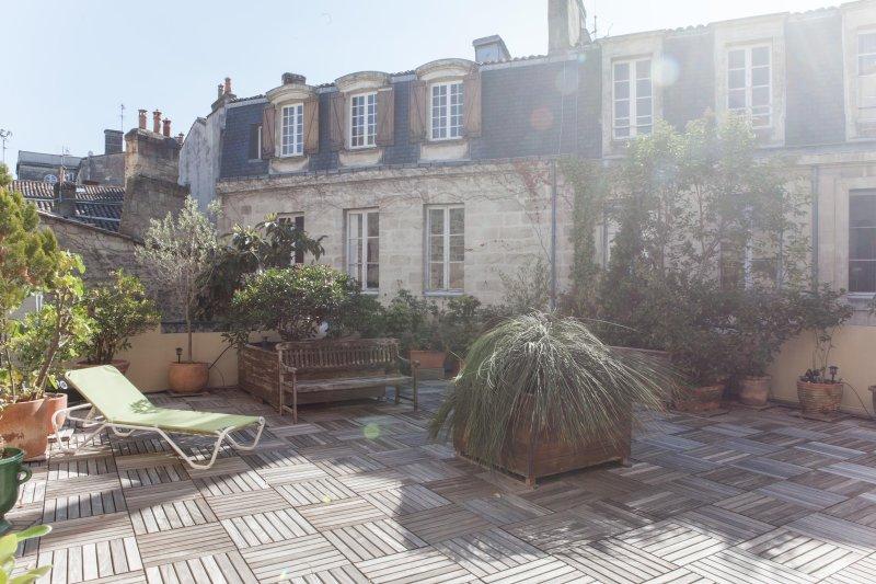 Magnifique appartement face au Jardin Public avec grande terrasse et ascenseur, alquiler vacacional en Burdeos