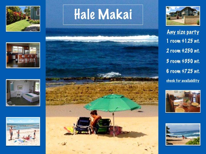 Hale Makai Beach House comfortable, clean, bbq area, outdoor shower and beach access.