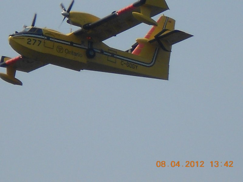 Water bombers after picking up water flying over head  - this has only happened twice in 26years