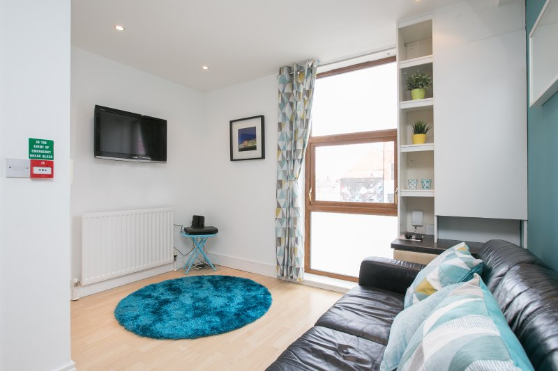 Bright, cosy lounge with wide screen TV