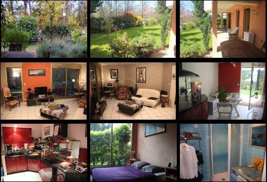 App T2 RDJ 56m2 + jardin et terrasse 123m2 LYON, aluguéis de temporada em Lozanne