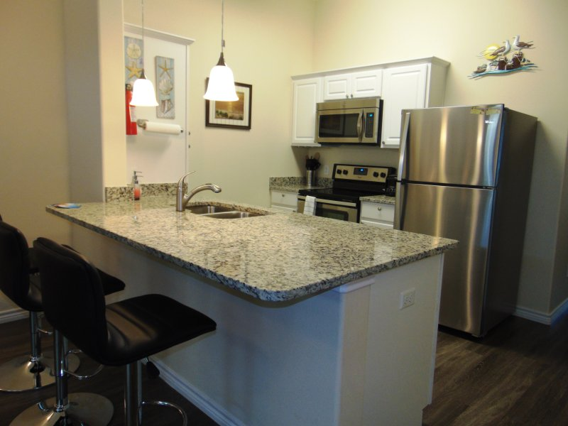 fully stocked kitchen: stainless still appliances, glass stove top, granite counter, 3 bar stools