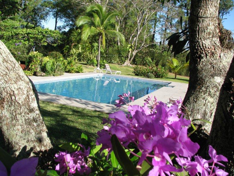 Ferienhaus für 2-5 Personen, 2 DZ, 1 EZ, 2 BZ, grosser Garten mit Pool, holiday rental in Santiago de Puriscal