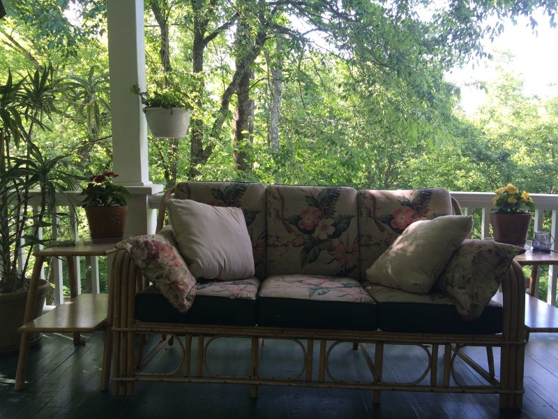 View from bedroom into wraparound porch.