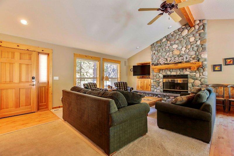 Sofá, muebles, chimenea, estufa, Interior