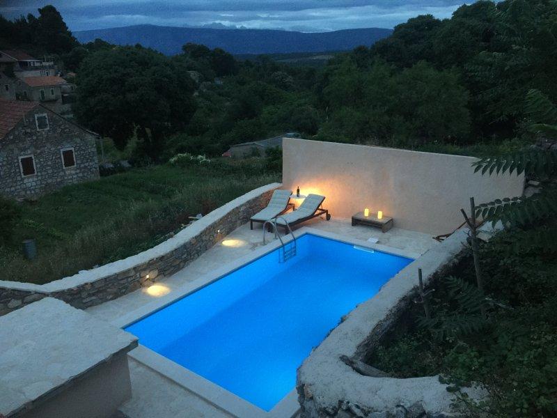 Hvar Beautiful Stone Villa with pool, Vrbanj, Jelsa, Hvar, Croatia, vacation rental in Jelsa